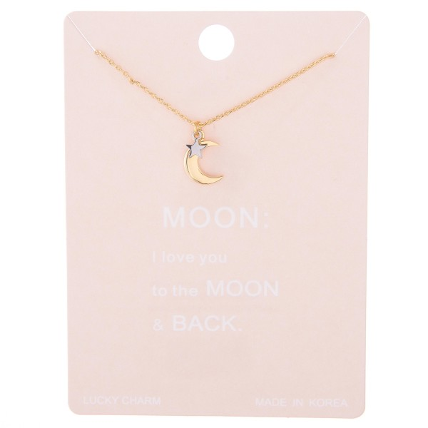 """Two tone dainty star nested moon lucky charm necklace.  - Pendant approximately 1cm in diameter - Approximately 15"""" L with 2"""" extender"""