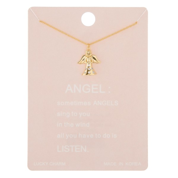 "Dainty rhinestone angel lucky charm necklace.  - Pendant approximately .5""  - Approximately 16"" in length with 2"" extender"