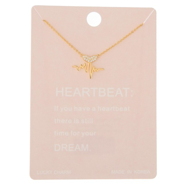 Wholesale dainty rhinestone heartbeat lucky charm necklace Pendant extender