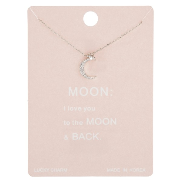 """Dainty rhinestone moon lucky charm necklace.  - Pendant approximately .5""""  - Approximately 16"""" in length with 2"""" extender"""