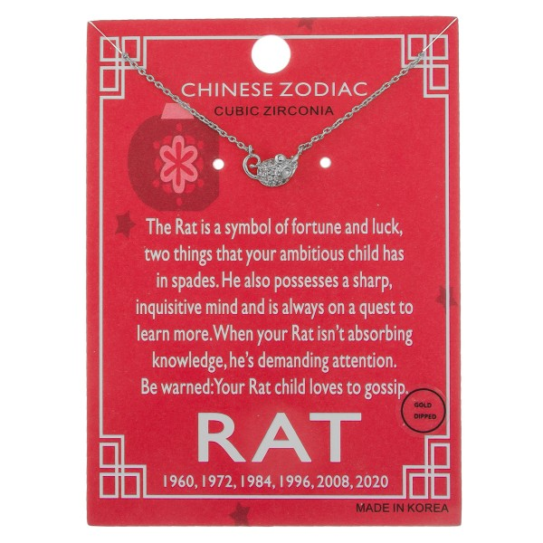"""White Gold dipped Chinese Zodiac Cubic Zirconia """"Rat"""" pendant necklace.  """"The Rat is a symbol of fortune and luck,  two things that your ambitious child has   in spades. He also possesses a sharp,   inquisitive mind and always on a quest to   learn more. When your Rat isn't absorbing   knowledge, he's demanding attention. Be   warned: Your Rat child loves to gossip."""" """"1960, 1972, 1984, 2008, 2020""""   - Pendant approximately 1cm  - Approximately 16"""" in length"""