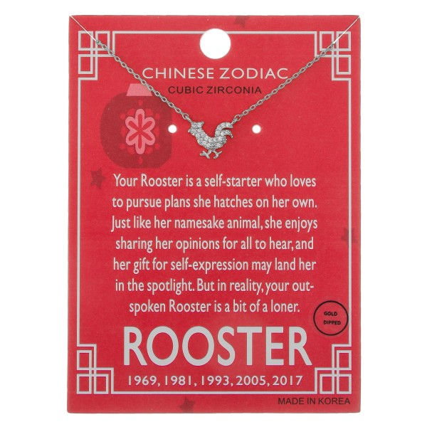 """White Gold dipped Chinese Zodiac Cubic Zirconia """"Rooster"""" pendant necklace.  """"Your Rooster is a self-starter who loves  to pursue plans she hatches on her own.  Just like her namesake animal, she enjoys   sharing her opinions for all to hear, and   her gift for self-expression may land her  in the spotlight. But in reality, your spoken   Rooster is bit of a loner."""" """"1969, 1981, 1993, 2005, 2017""""   - Pendant approximately 1cm  - Approximately 16"""" in length"""