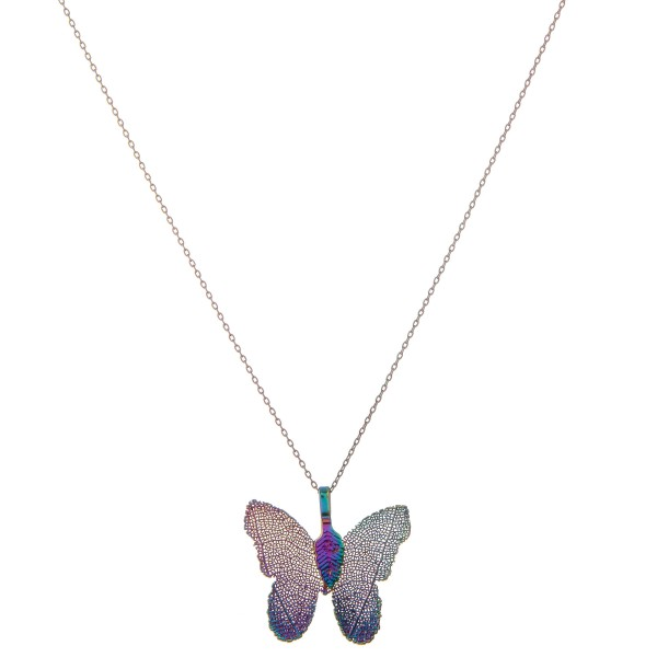 """White Gold dipped filigree butterfly pendant necklace.  - Pendant approximately 1""""  - Approximately 18"""" L  - 2"""" extender"""