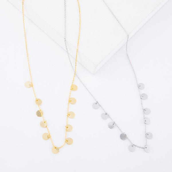 """Gold Dipped Textured Disc Drip Necklace.  - Approximately 15"""" L  - 2"""" Adjustable Extender"""