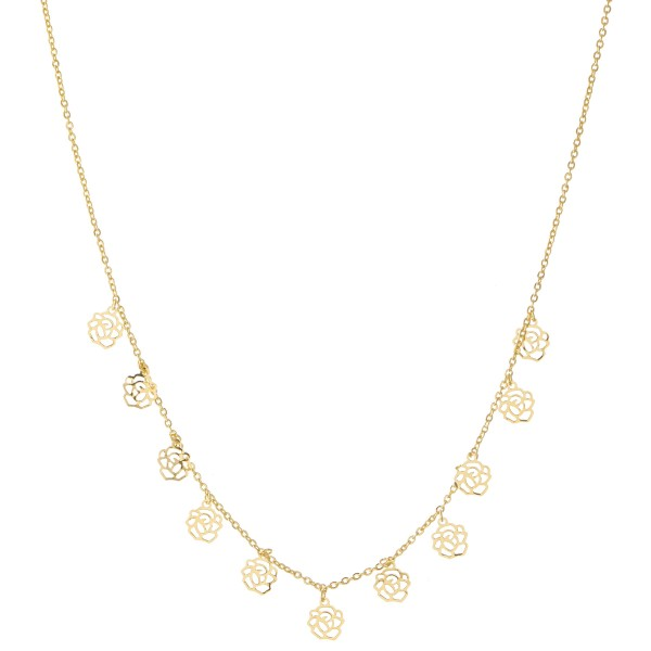 """Gold Dipped Filigree Rose Drip Necklace.  - Approximately 15"""" L - 2"""" Adjustable Extender"""