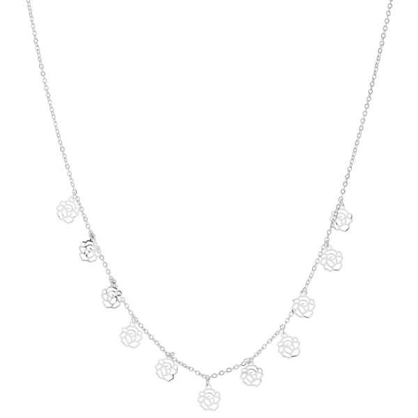 """White Gold Dipped Filigree Rose Drip Necklace.  - Approximately 15"""" L - 2"""" Adjustable Extender"""