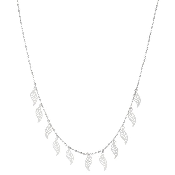 """White Gold Dipped Filigree Feather Drip Necklace.  - Approximately 15"""" L - 2"""" Adjustable Extender"""