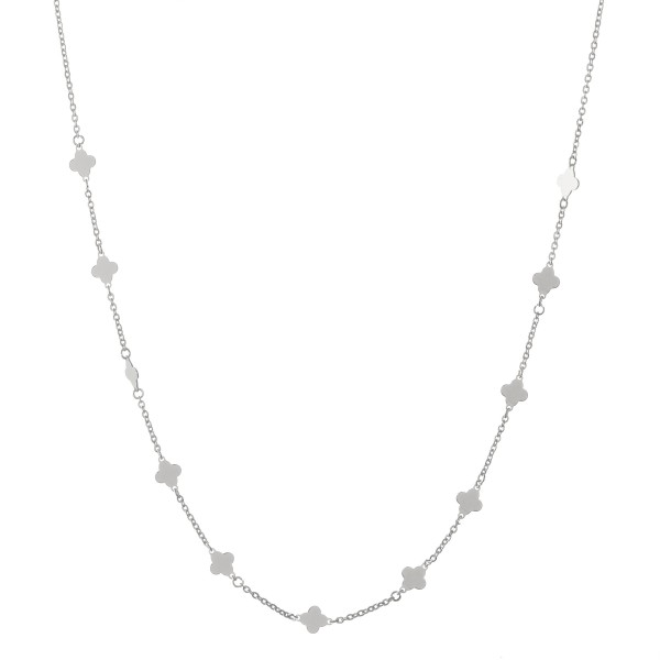 """White Gold dipped quatrefoil floater necklace.  - Approximately 15"""" L  - 2"""" extender"""