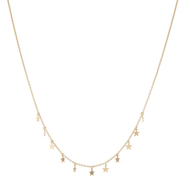 "Dainty Gold dipped star dangle necklace.  - Approximately 15"" in length with 2"" extender"