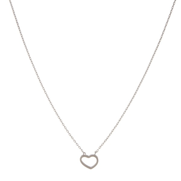 "White Gold dipped open heart collar necklace.  - Pendant approximately 1cm  - Approximately 14"" in length with 1"" extender"