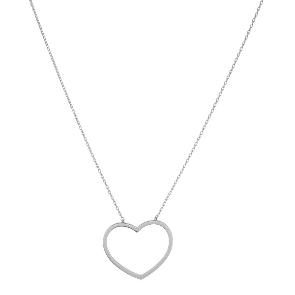 "White Gold dipped open heart collar necklace.  - Pendant approximately 1""  - Approximately 14"" in length with 1"" extender"