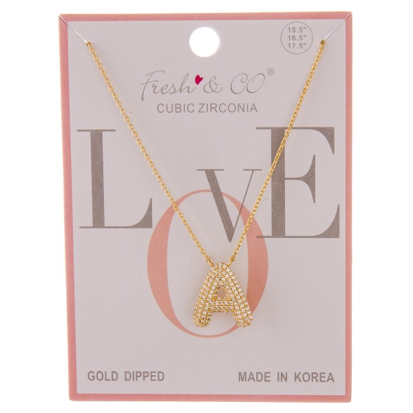 """Gold dipped cubic zirconia initial """"A"""" pendant necklace.  - Cubic Zirconia - Pendant approximately .75""""  - Approximately 16"""" in length with 2"""" extender"""