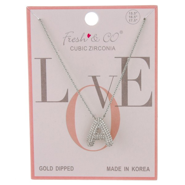 """White Gold dipped cubic zirconia initial """"A"""" pendant necklace.  - Cubic Zirconia  - Pendant approximately .75""""  - Approximately 16"""" in length with 2"""" extender"""