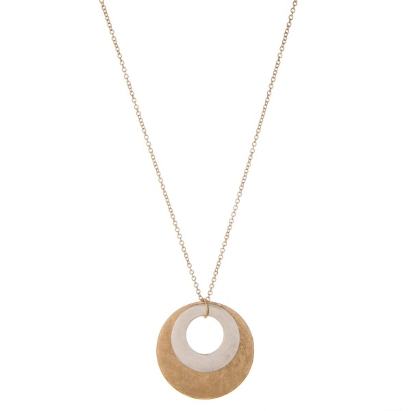 """Two tone long metal modern disc pendant necklace.  - Pendant approximately 2"""" in diameter - Approximately 34"""" L  - 3.5"""" extender"""
