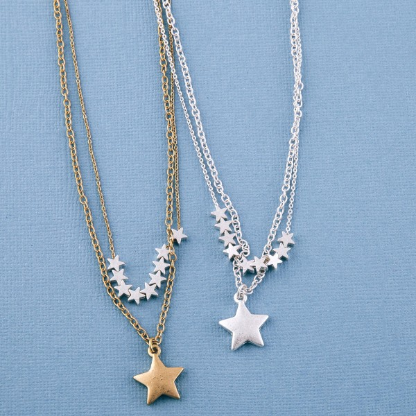 "Two tone layered star beaded necklace.  - Approximately 18"" L - 3"" extender"