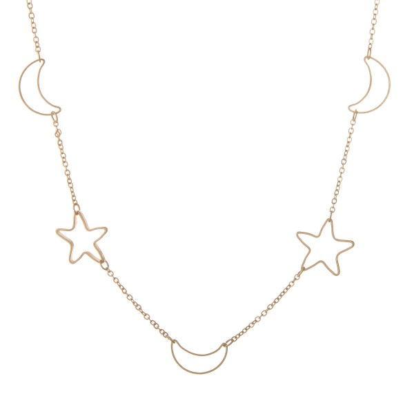 """Star and moon cut out collar necklace.  - Approximately 16"""" L with 3"""" extender"""