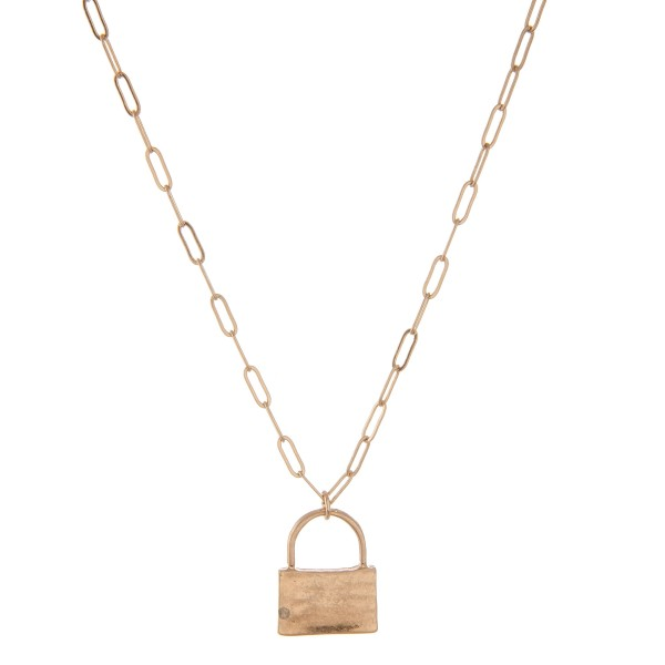 """Cable chain link lock pendant necklace.  - Pendant approximately 1""""  - Approximately 18"""" L with 3"""" extender"""