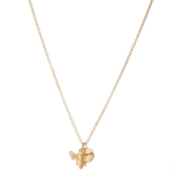 """Honey Bee Necklace in Worn Gold.  - Pendant .75""""  - Approximately 16"""" L  - 3"""" Adjustable Extender"""