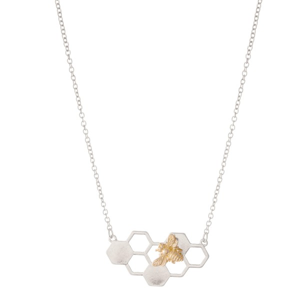 """Two Tone Honeycomb Bee Necklace.  - Pendant 1.5""""  - Approximately 16"""" L - 3"""" Adjustable Extender"""
