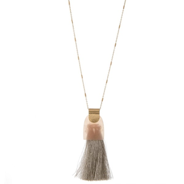 "Long marble resin fringe tassel pendant necklace.  - Pendant approximately 3.5""  - Approximately 36"" L overall - 3"" extender"