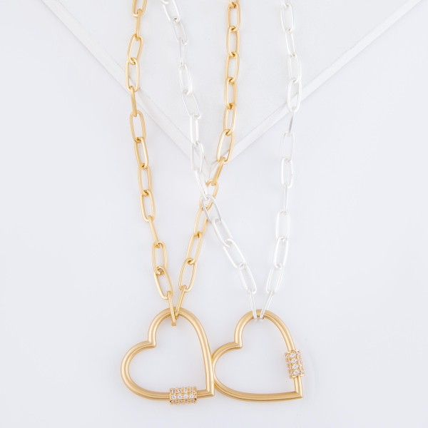 "Two Tone Rhinestone Carabiner Heart Lock Chain Link Necklace.  - Pendant 1.5""  - Approximately 18"" L - 3"" Adjustable Extender"