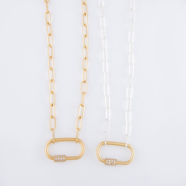 """Two Tone Rhinestone Carabiner Lock Chain Link Necklace.  - Pendant 1.25""""  - Approximately 18"""" L - 3"""" Adjustable Extender"""