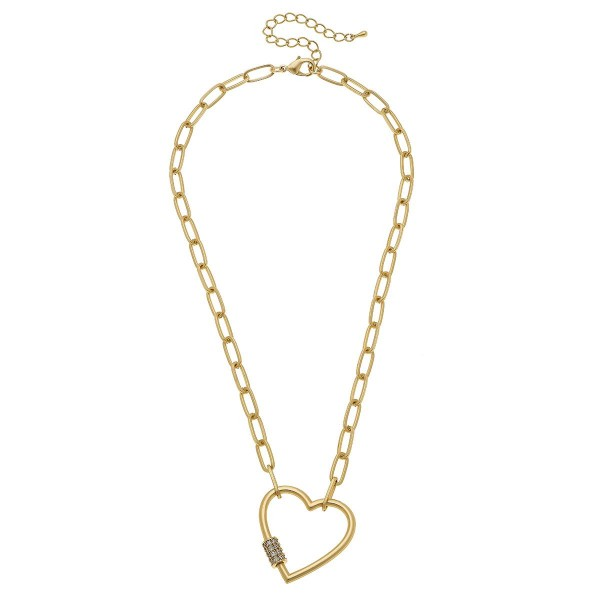 Wholesale rhinestone Carabiner Heart Lock Chain Link Necklace Pendant L Adjustab