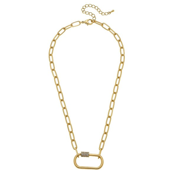 "Rhinestone Carabiner Lock Chain Link Necklace.  - Pendant 1.25""  - Approximately 18"" L - 3"" Adjustable Extender"