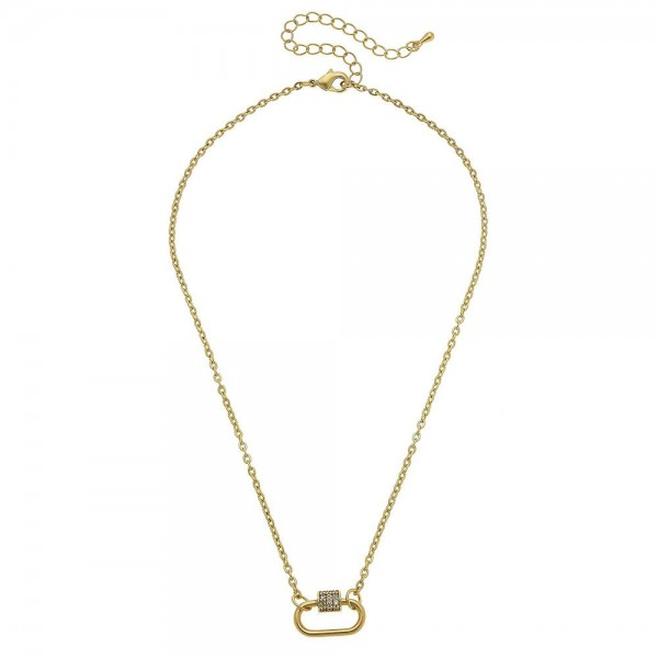 """Two Tone Rhinestone Carabiner Lock Necklace.  - Penant .75""""  - Approximately 16"""" L - 3"""" Adjustable Extender"""