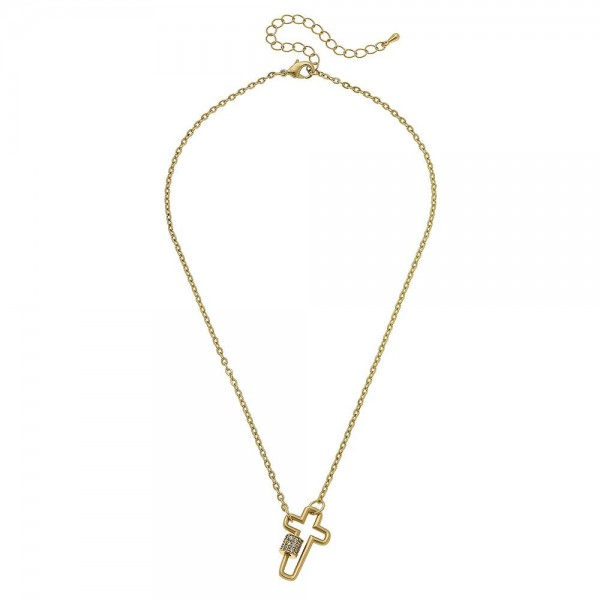 "Rhinestone Carabiner Cross Lock Necklace.  - Pendant 1"" - Approximately 16"" L - 3"" Adjustable Extender"