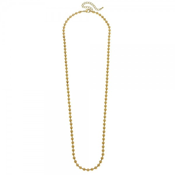 """Long Ball Bead Chain Necklace in Matte Gold.  - Ball Bead 4mm - Approximately 30"""" L - 3"""" Adjustable Extender"""