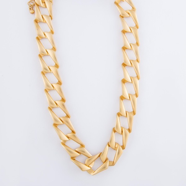 "Squared Curb Cuban Link Chain Statement Necklace in Matte Gold.  - Approximately 14"" L - 3"" Adjustable Extender"