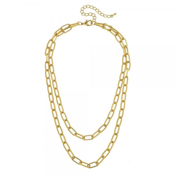 "Oval Chain Link Layered Necklace in Matte Gold.  - Shortest Layer 14"" L - Approximately 18"" L overall - 3"" Adjustable Extender"