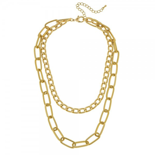 "Hera Curb Link Layered Statement Necklace in Matte Gold.  - Shortest Layer 14"" L - Approximately 18"" L overall - 3"" Adjustable Extender"