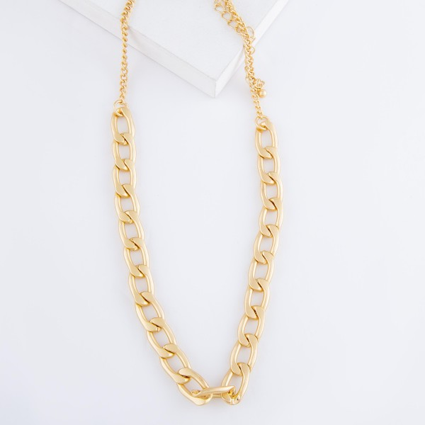 """Curb Link Chain Necklace in Matte Gold.  - Approximately 16"""" L  - 3"""" Adjustable Extender"""