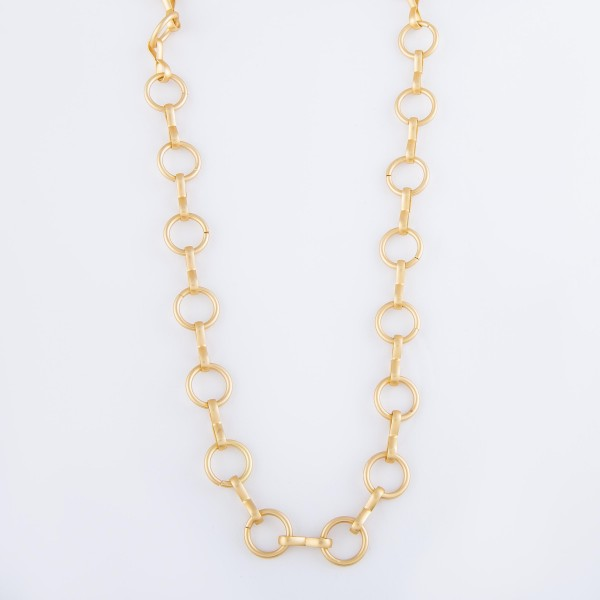 """Circle Chain Link Necklace in Matte Gold.  - Approximately 20"""" L - 3"""" Adjustable Extender"""