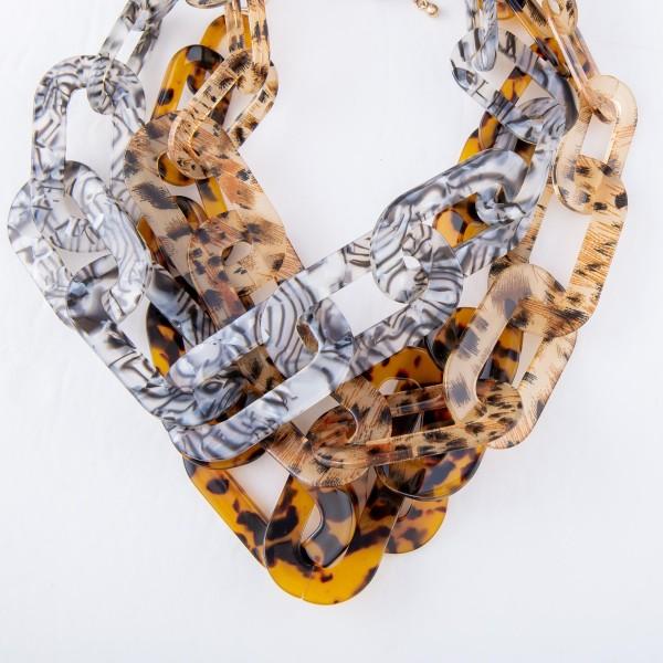 "Short Leopard Resin Chain Link Statement Necklace.  - Approximately 16"" L  - 3"" Adjustable Extender"