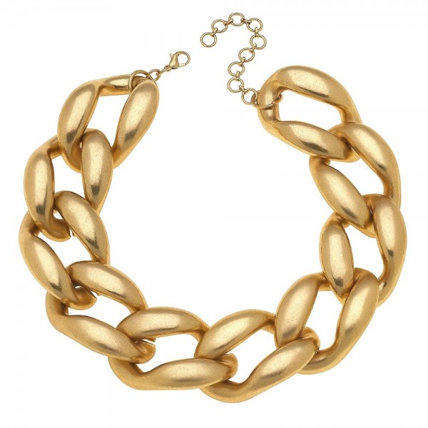 "Chunky Curb Link Statement Necklace.  - Approximately 14"" L  - 3"" extender"