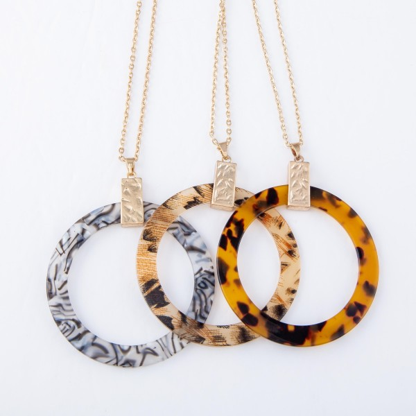 "Long Necklace with Open Circle Leopard Resin Pendant.  - Pendant 2"" in diameter - Approximately 34"" L - 3"" Adjustable Extender"