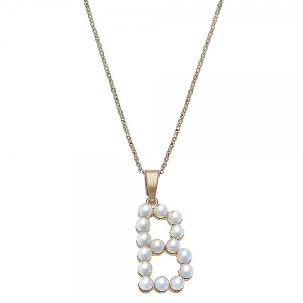 "Ivory pearl beaded initial ""B"" pendant necklace.  - Pendant approximately 1.25""  - Approximately 18"" L overall - 3"" extender"