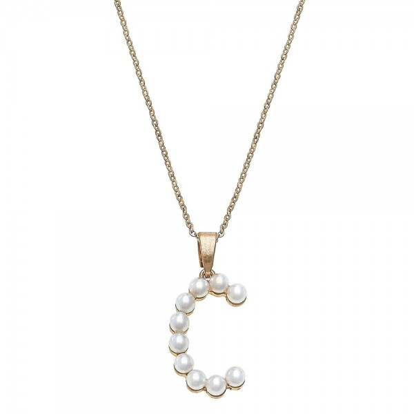 """Ivory pearl beaded initial """"C"""" pendant necklace.  - Pendant approximately 1.25""""  - Approximately 18"""" L overall - 3"""" extender"""