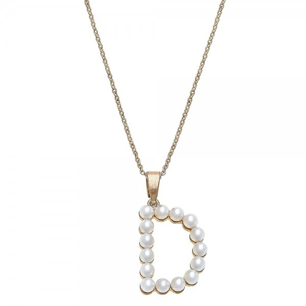 Wholesale ivory pearl beaded initial D pendant necklace Pendant L overall extend