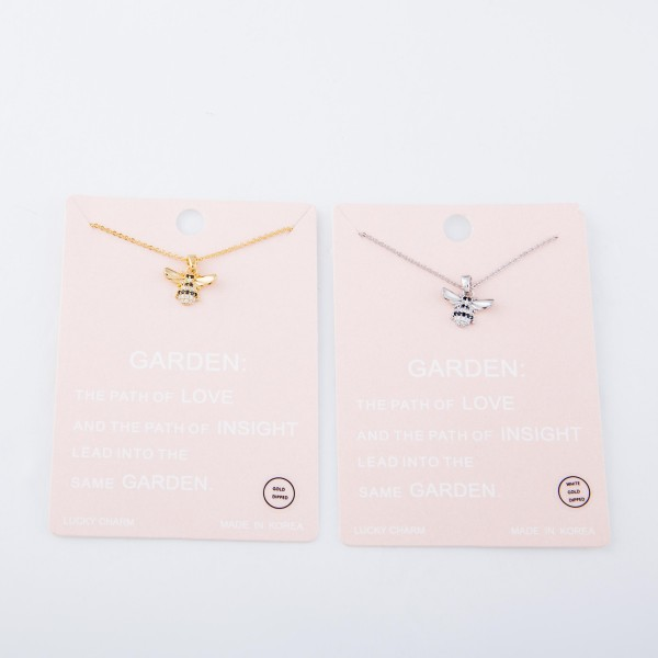 """Gold Dipped Designer Inspired Rhinestone Bumble Bee Necklace.  - Pendant .5""""  - Approximately 15"""" L - 2"""" Adjustable Extender"""