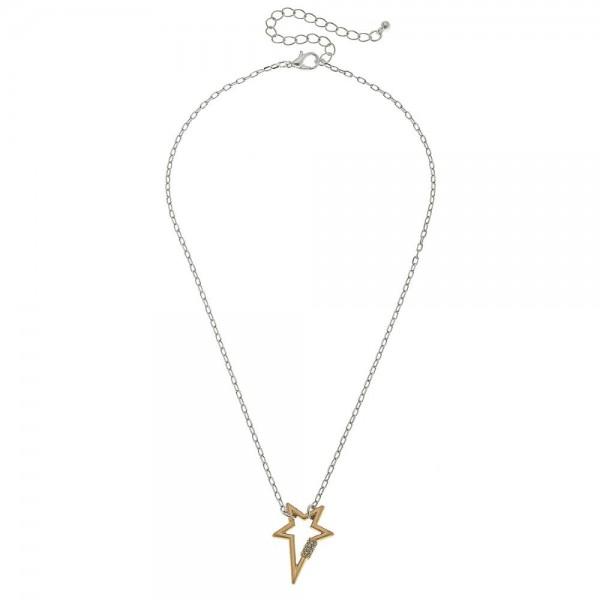 Wholesale two Rhinestone Carabiner Star Lock Necklace Pendant L Adjustable Exten
