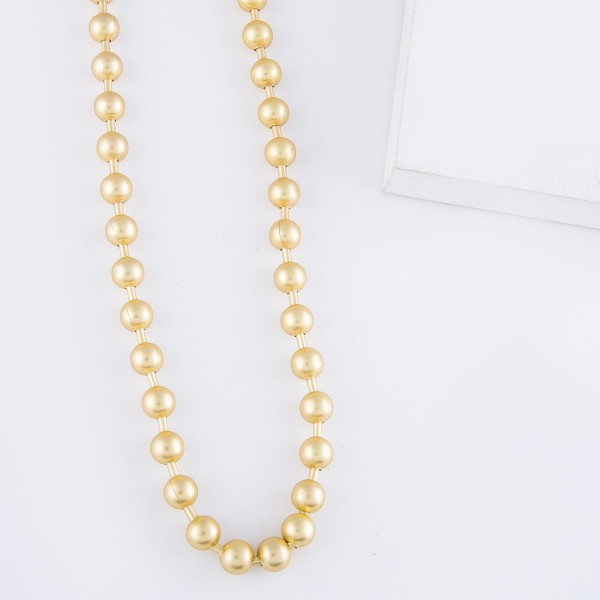 """Short Ball Bead Chain Necklace in Matte Gold.  - Ball Bead 7.5mm  - Approximately 14"""" L - 3"""" Adjustable Extender"""