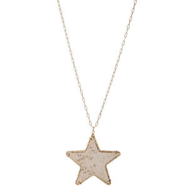 Wholesale long Brass faux leather snakeskin star pendant necklace metallic accen