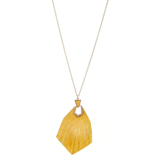 "Long Worn Gold Genuine Leather animal print hinge tassel pendant necklace.  - Pendant approximately 2.75""  - Approximately 32"" L - 3"" extender"