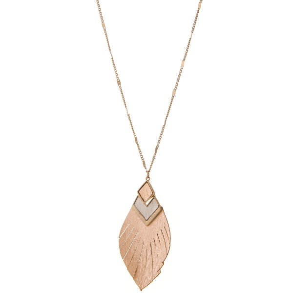 """Long Worn Gold Genuine Leather animal print feather tassel hinge pendant necklace.  - Pendant approximately 2.5""""  - Approximately 32"""" L - 3"""" extender"""