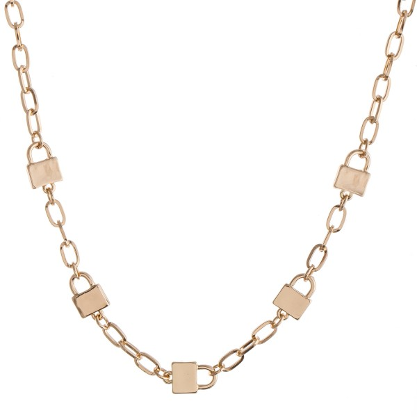 """Lock Chain Link Necklace.  - Approximately 14"""" L  - 2"""" Adjustable Extender"""