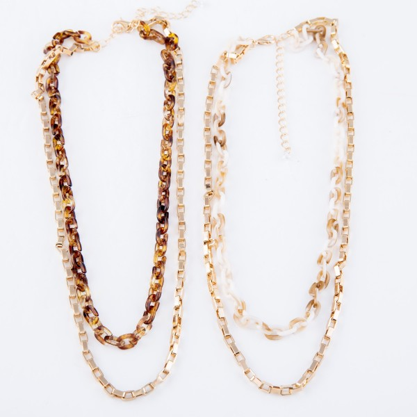"Resin Chain Link Layered Necklace.  - Shortest Layer 14"" L - Approximately 16"" L  - 2.5"" Adjustable Extender"